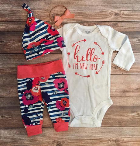 Hello I'm New Here Navy Stripe and Poppy Coming Home Outfit, Newborn
