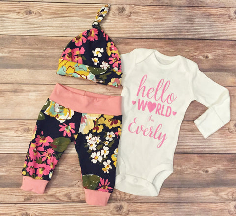 Navy Spring Floral Newborn Coming Home Outfit, Going Home Outfit, Hello World