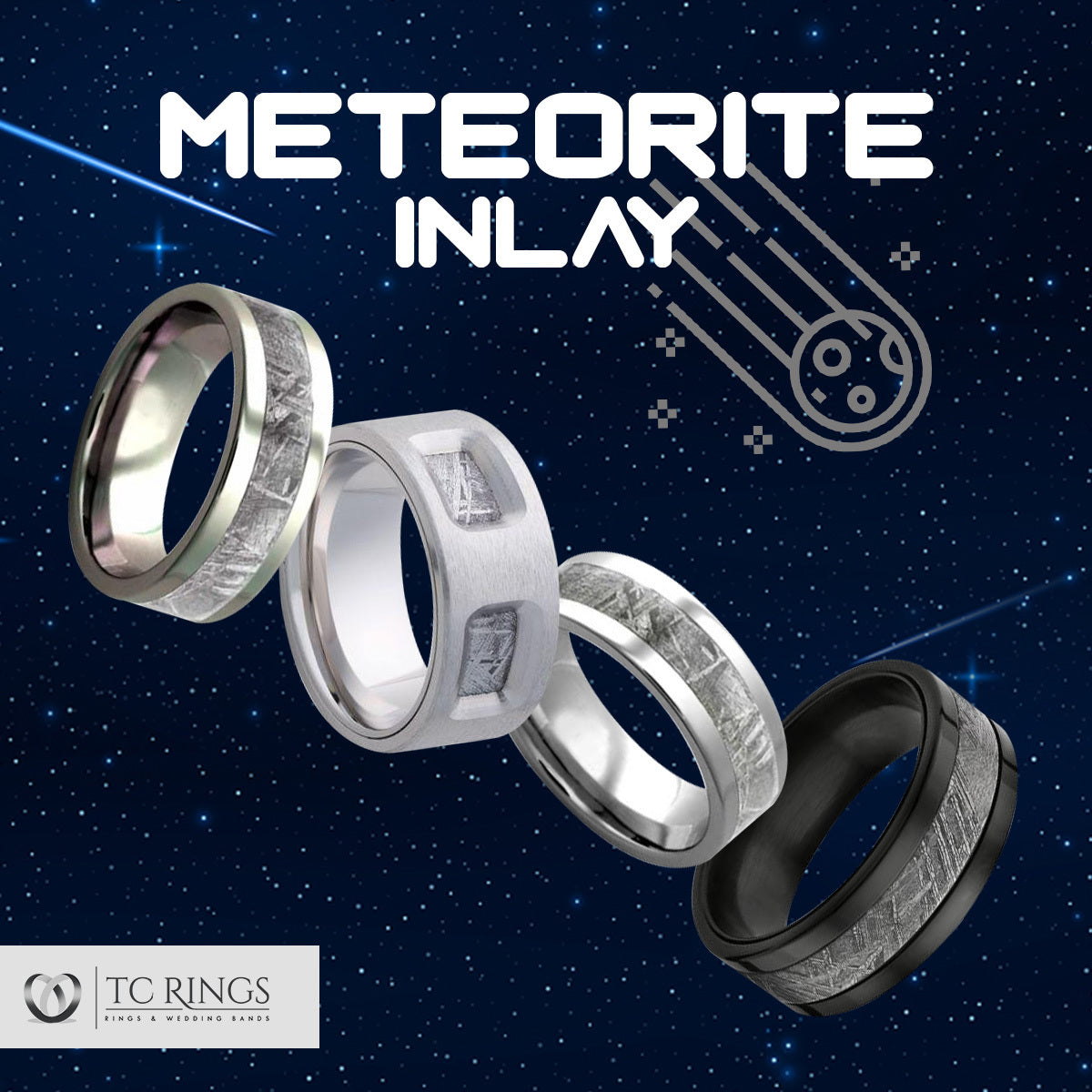Meteorite Rings & Wedding Bands