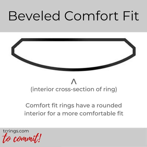 Beveled Edge ring profile with comfort fit interior tcrings.com