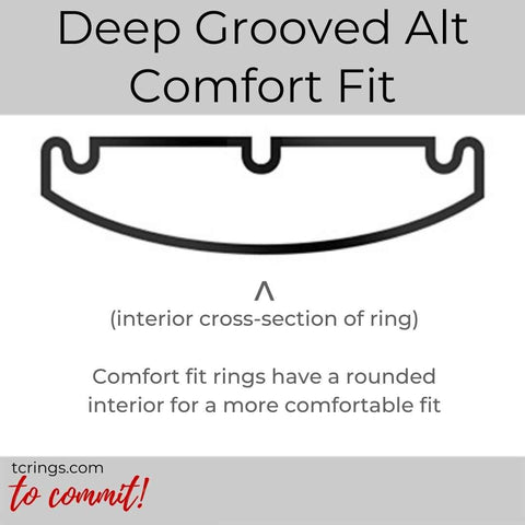 Deep Grooved Alt ring with comfort fit interior tcrings.com