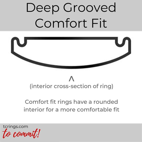 Deep Grooved ring with comfort fit interior tcrings.com