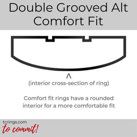 Double Grooved Alt ring profile with comfort fit interior tcrings.com