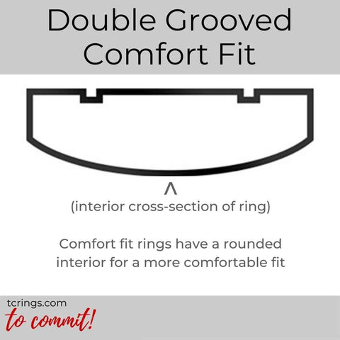 Double Grooved ring profile with comfort fit interior tcrings.com