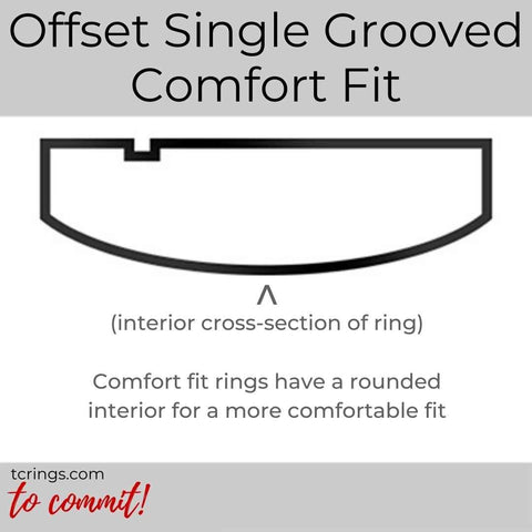 Offset Single Grooved ring profile with comfort fit interior tcrings.com