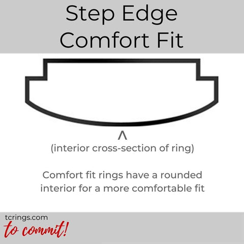 Step Edge ring profile with comfort fit interior tcrings.com
