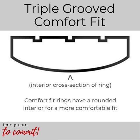 Triple Grooved ring profile with comfort fit interior tcrings.com