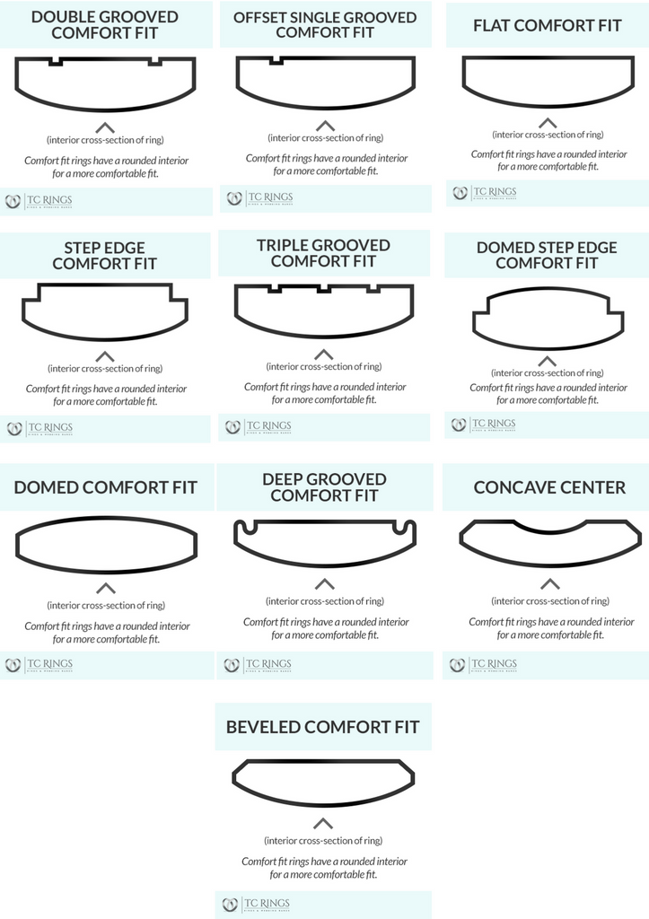 Comfort Fit sizing ring styles
