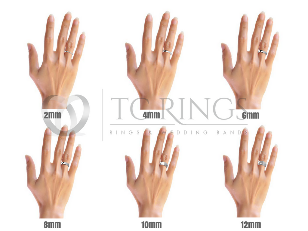 ring width sizes on female hand