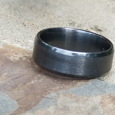 RENEGADE | Black Wedding Ring | Black Zirconium Band with Beveled Edges | 6mm, 7mm & 8mm