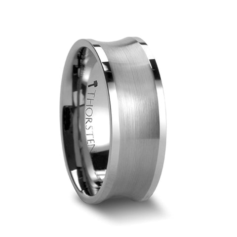 POLLOCK Tungsten Carbide Ring with Brushed Concave Center   8mm