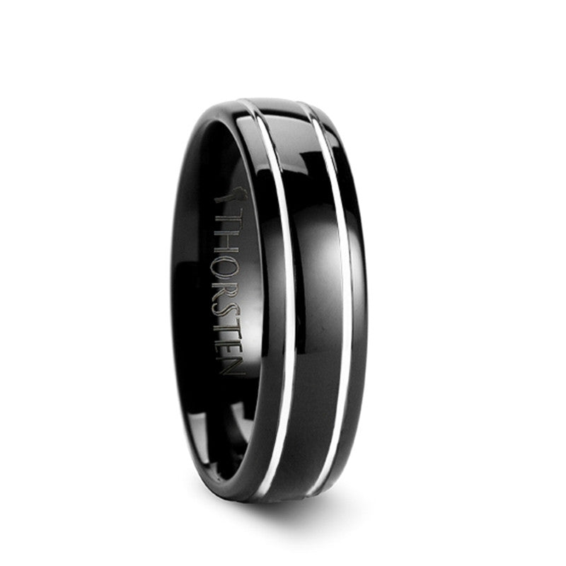 GRANADA | Black Domed Tungsten Carbide Ring with Offset Grooves | 6mm & 8mm - TCRings.com