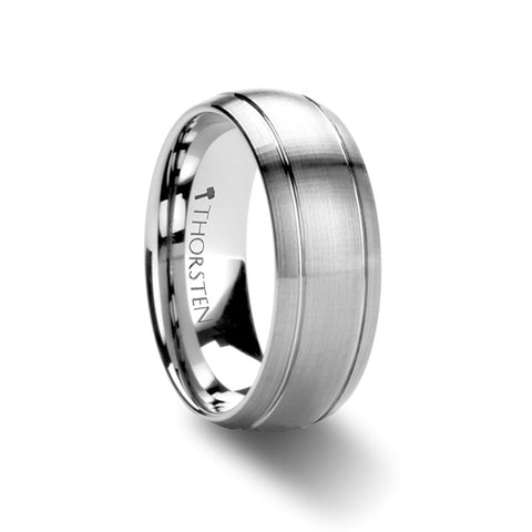 INGRES | Brushed Domed Tungsten Carbide Ring with Dual Grooves | 6mm & 8mm - TCRings.com