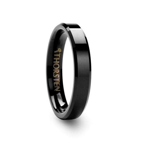 MERIDIAN Black Tungsten Carbide Ring with Beveled Edges  4mm & 6mm