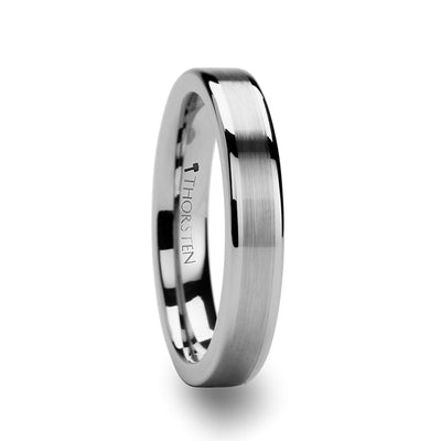 Tungsten Wedding Ring with Brushed Center Stripe