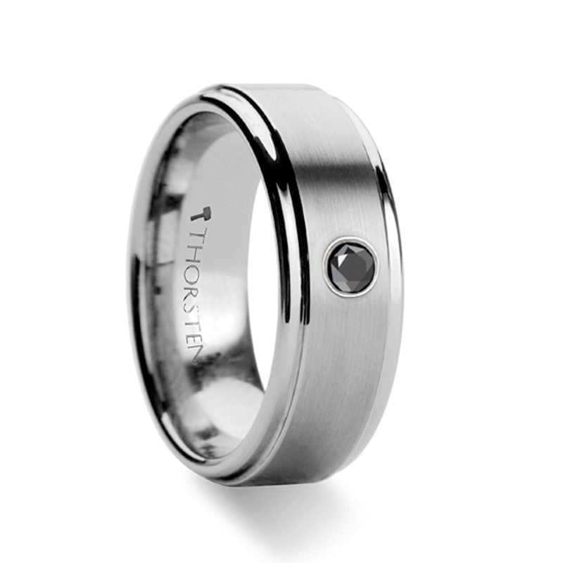 GLASGOW | Men's Wedding Ring | Tungsten | Black Diamond | 8mm - TCRings.com