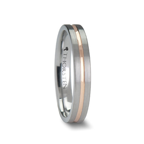 JOAN | Flat Cut Brushed Finish Tungsten Carbide Ring with Rose Gold Channel | 4mm & 6mm - TCRings.com