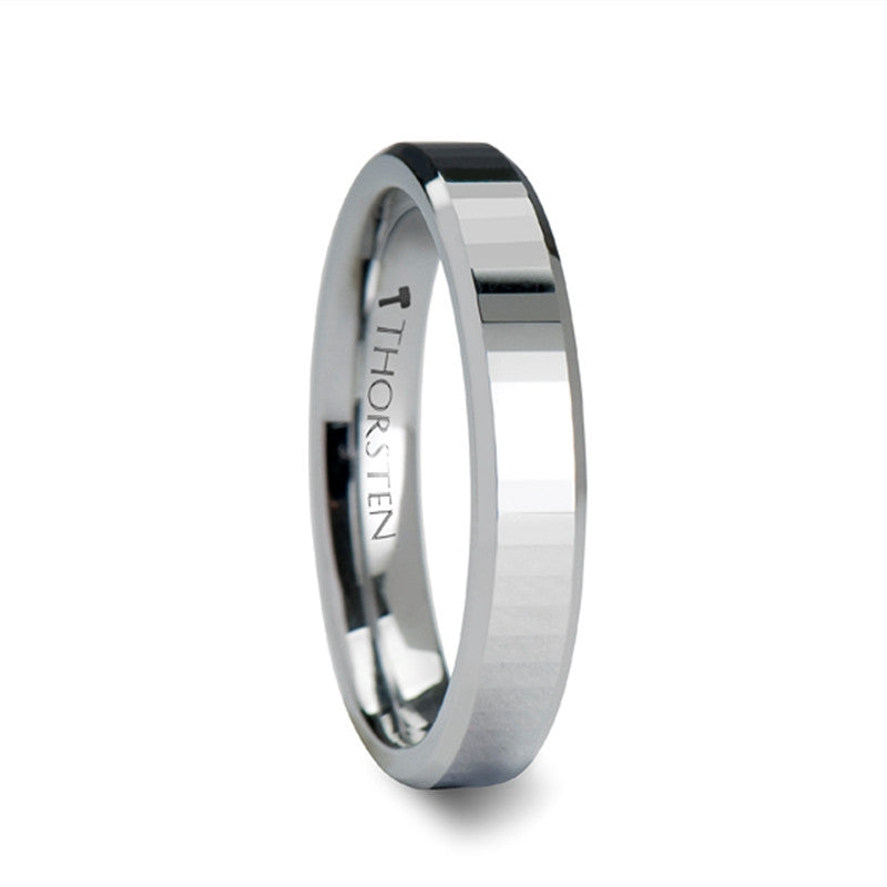 THALIA  Beveled Tungsten Carbide Ring with Narrow Rectangular Facets   4mm & 6mm