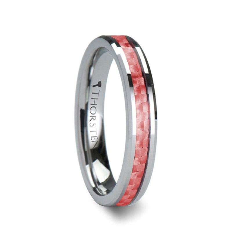 INGRID | Beveled Tungsten Carbide Ring with Pink Carbon Fiber |  4mm & 6mm - TCRings.com
