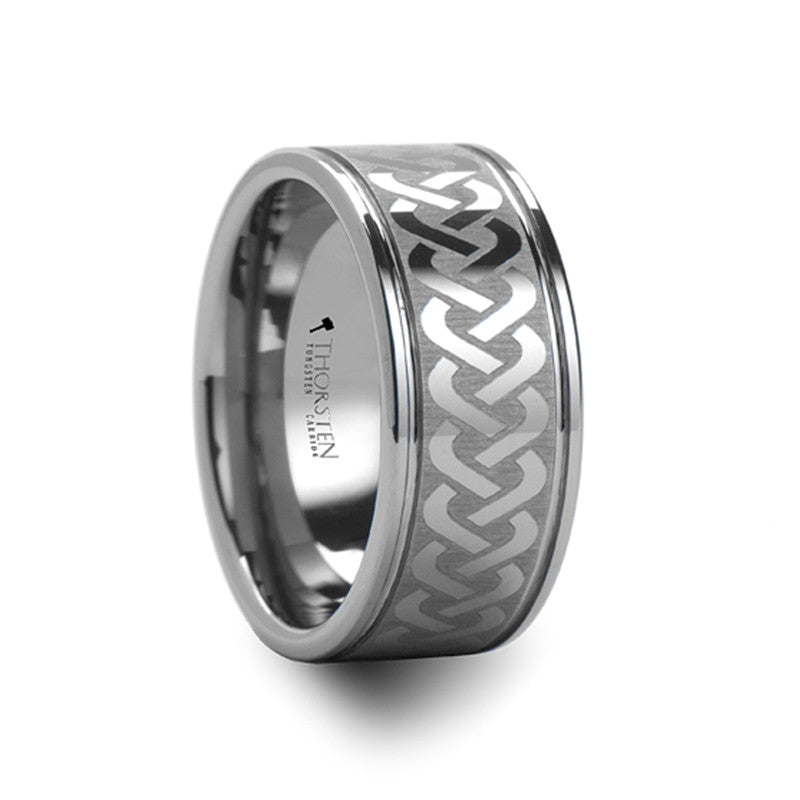 TIERNEY  Celtic Knot Laser Engraved Tungsten Carbide Ring Wide   10mm