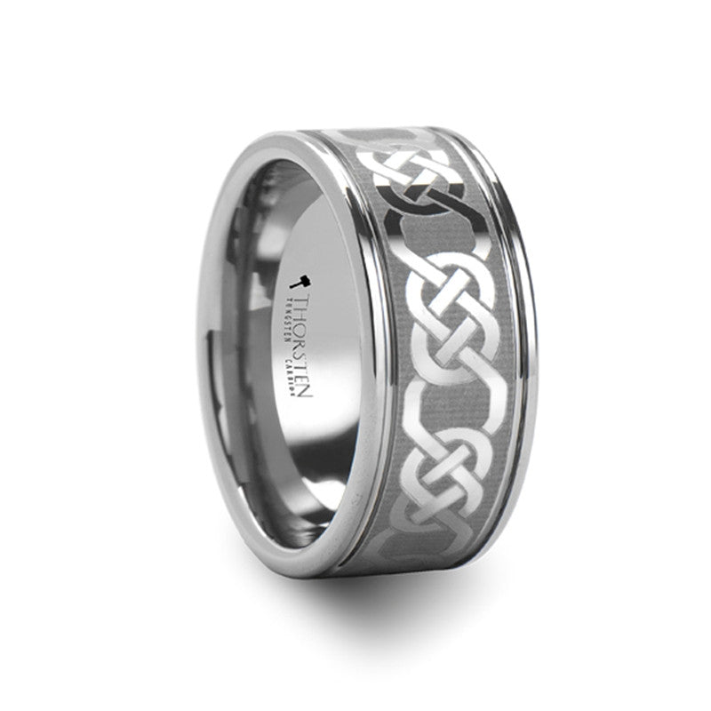DONAGHUE | Men's Celtic Wedding Ring | Tungsten Carbide | 10mm - TCRings.com