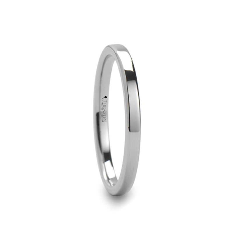 PENELOPE  Pipe Cut Style White Tungsten Carbide Ring   2mm