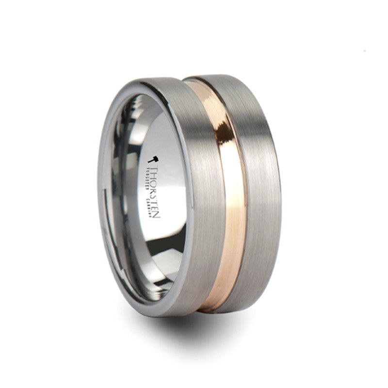 FLORENCE | Flat Cut Brushed Finish Tungsten Carbide Ring with Rose Gold Channel | 10mm - TCRings.com