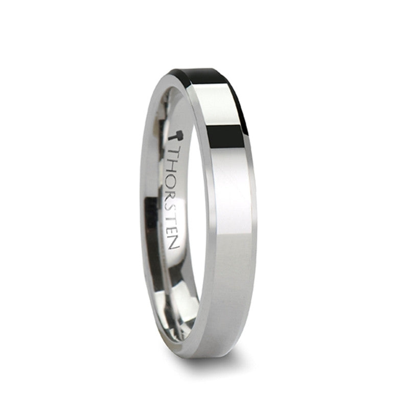 HERACLEUS | White Tungsten Carbide Ring with Beveled Edges | 4mm, 6mm, 7mm, 8mm, 10mm & 12mm - TCRings.com