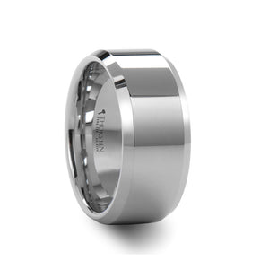 HERACLEUS | White Tungsten Carbide Wedding Ring | Beveled Edges | 4mm, 6mm, 7mm, 8mm, 10mm & 12mm - TCRings.com