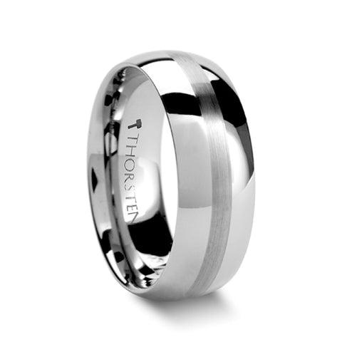 HAVEN | Round White Tungsten Carbide Ring with Satin Stripe | 4mm, 6mm & 8mm - TCRings.com