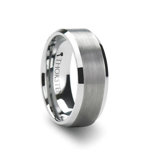 MAINE | White Tungsten Carbide Ring with  Brushed Center and Beveled Edges | 4mm, 6mm, 8mm & 10mm - TCRings.com