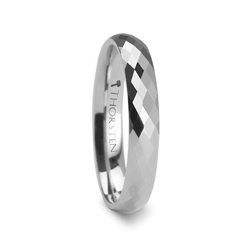 NEWCASTLE | White Tungsten Ring | Diamond Shaped Facets | 4mm, 6mm & 8mm - TCRings.com