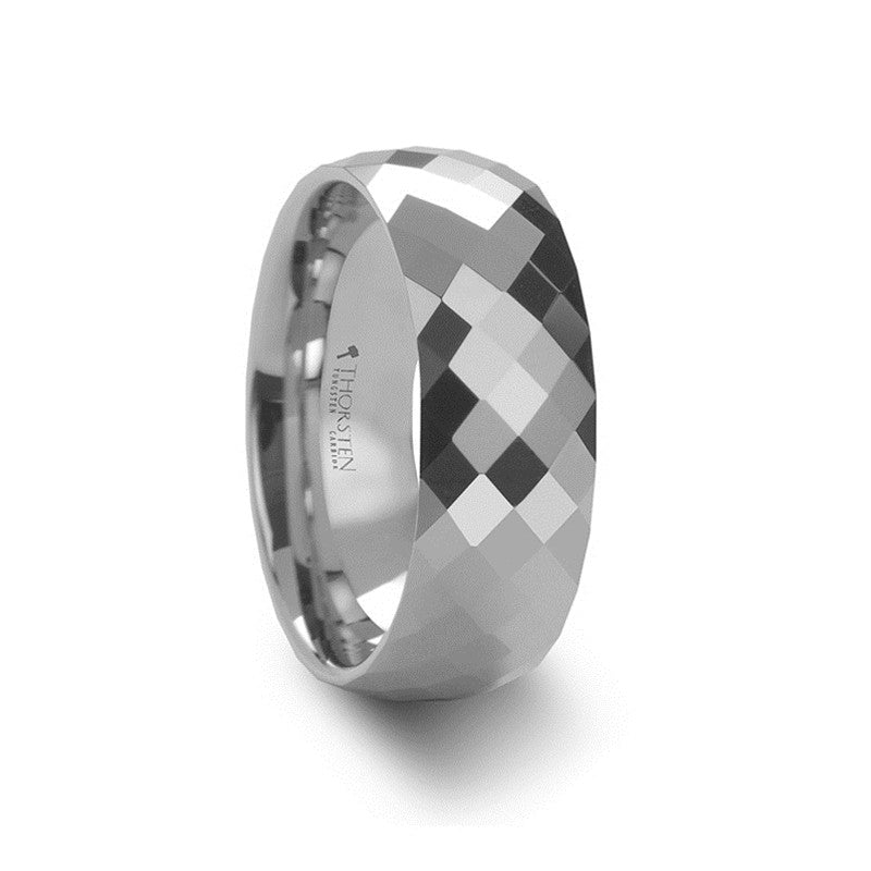 NEWCASTLE | White Tungsten Carbide Ring with 288 Diamond Facets | 4mm, 6mm & 8mm - TCRings.com