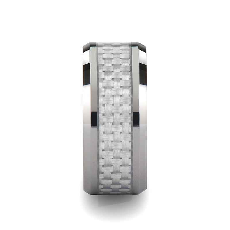 EPICTETUS | Tungsten Carbide Ring with White Carbon Fiber Inlay | 10mm - TCRings.com