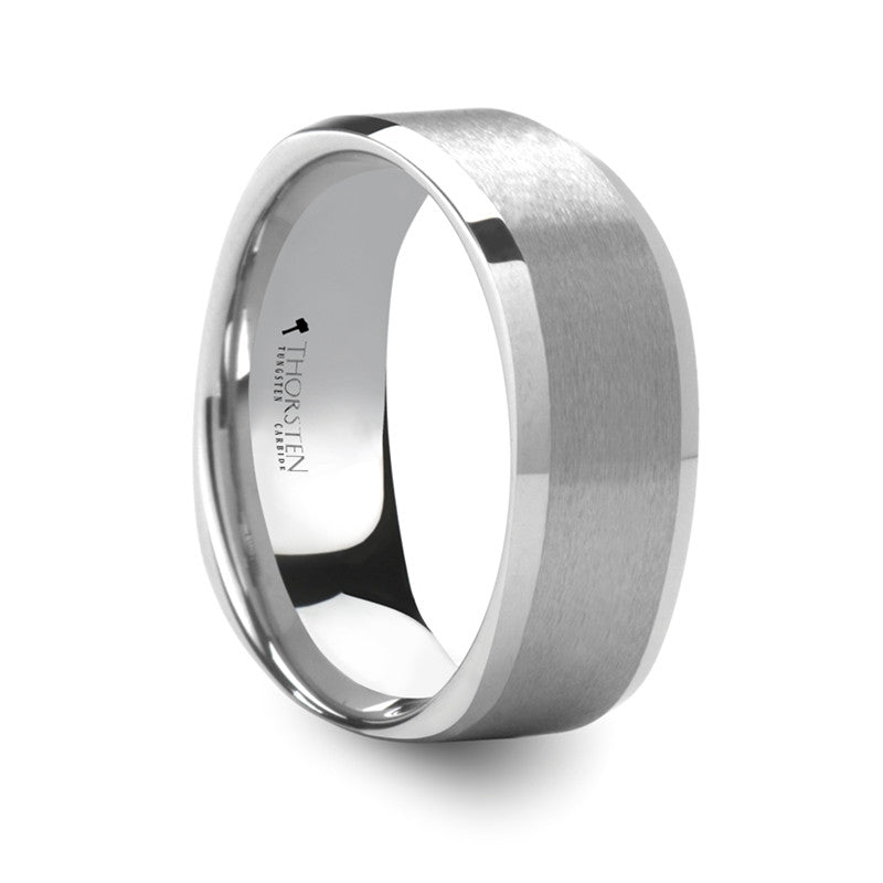 PALO ALTO Square Shape White Tungsten Carbide Ring with Brush Finished Center   8mm