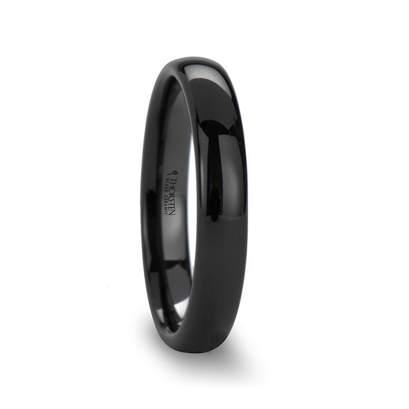 ERIS | Black Ceramic Wedding Band for Men & Women | 4mm, 6mm, 8mm, 10mm & 12mm - TCRings.com