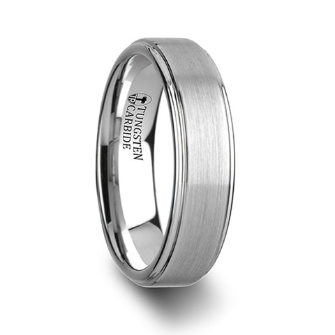 MACON White Tungsten Carbide Ring with Raised Brush Finished Center   6mm & 8mm
