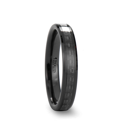 CURIE | Black Ceramic Ring with Black Carbon Fiber Inlay & Beveled Edges | 4mm & 6mm - TCRings.com