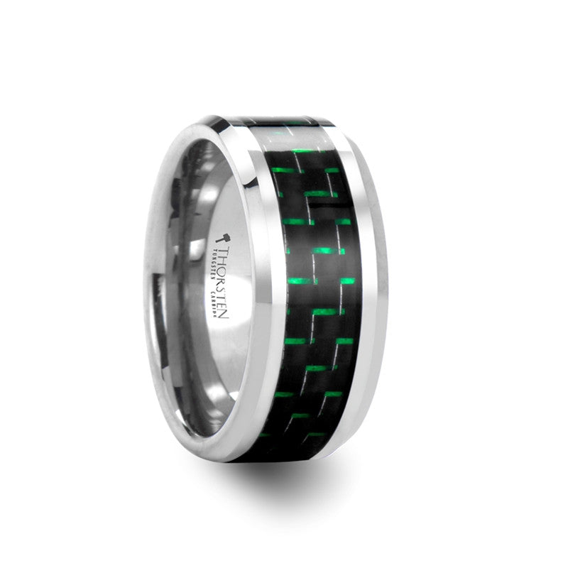 REGULUS Tungsten Carbide Ring with Black & Green Carbon Fiber Inlay 10mm