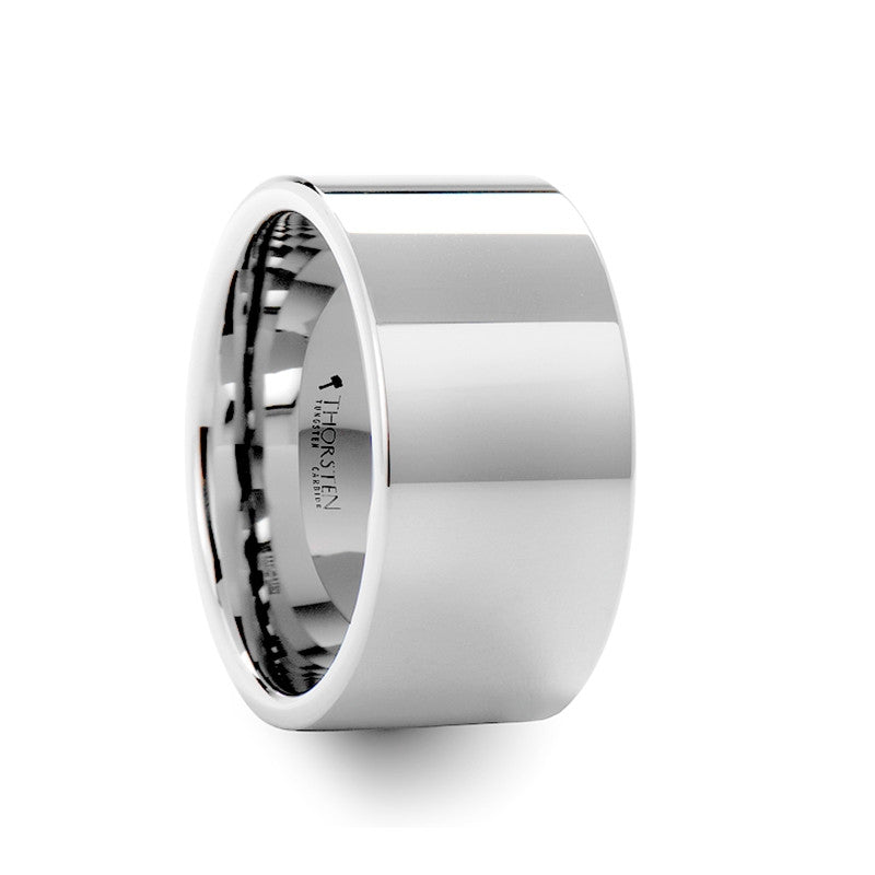 PERTH  Pipe Cut White Tungsten Carbide Ring with Polished Finish   12mm