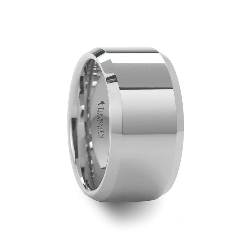 HELVETIA | Beveled Polished White Tungsten Carbide Ring | 12mm - TCRings.com