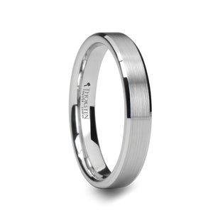 MAEJA | Beveled White Tungsten Carbide Ring with Brushed Center | 4mm & 6mm - TCRings.com