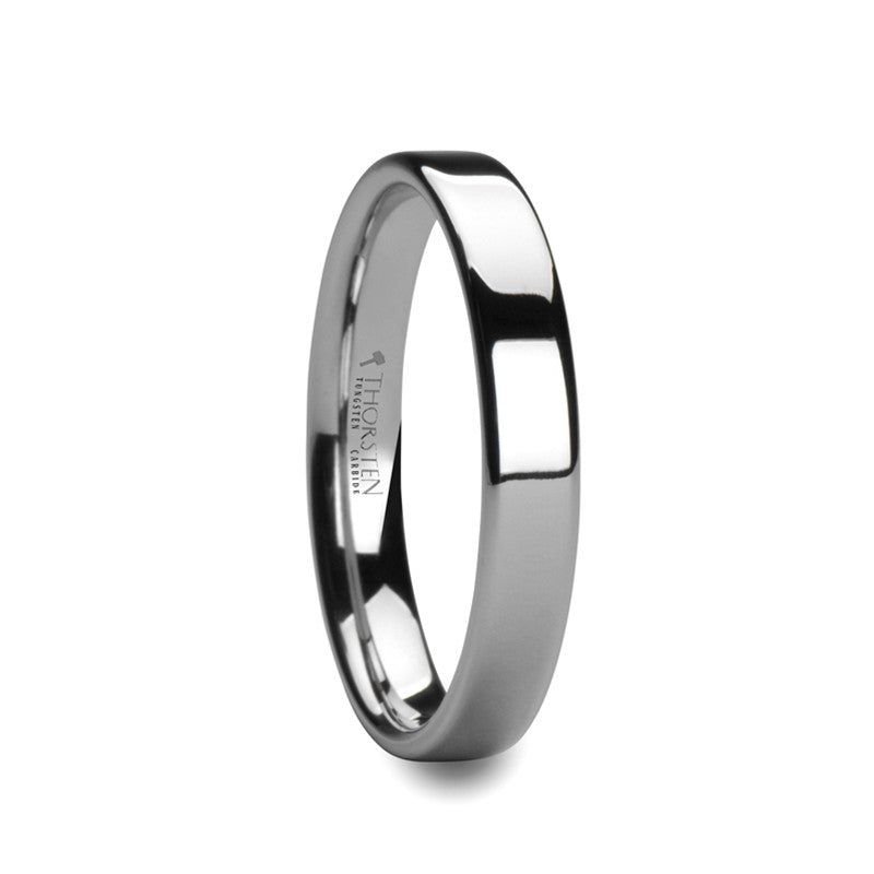 AMBRACIA | White Tungsten Carbide Ring with Flat Style & Polished Finish | 4mm & 6mm - TCRings.com