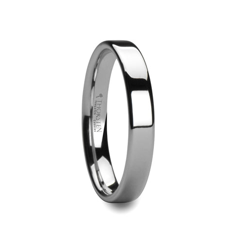 AMBRACIA | White Tungsten Carbide Ring with Flat Cut & Polished Finish | 4mm & 6mm - TCRings.com