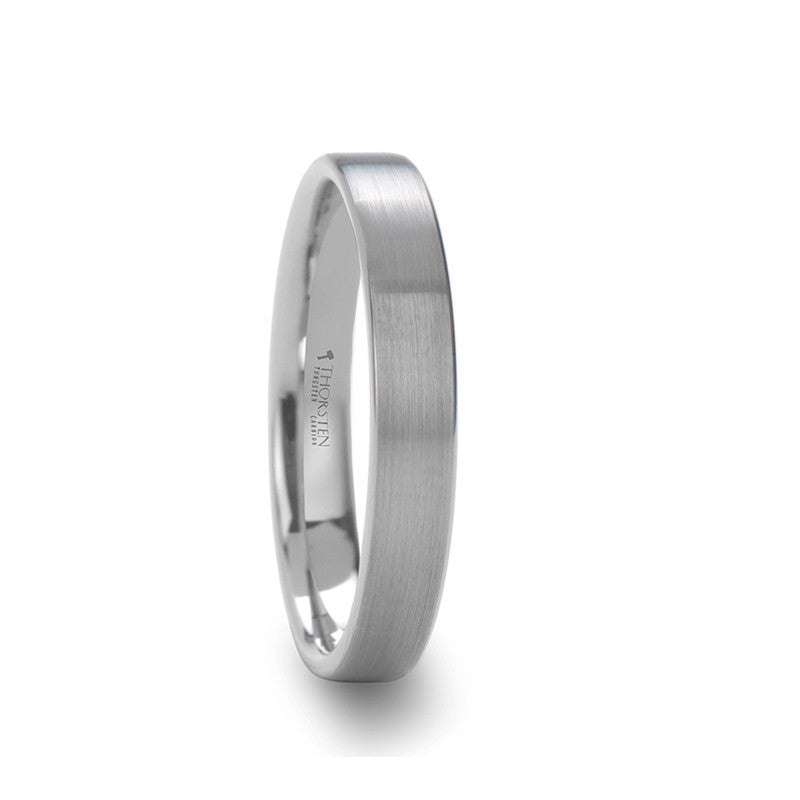 ELENNI | Flat Cut White Tungsten Carbide Tungsten Ring with Brushed Finish | 4mm & 6mm - TCRings.com