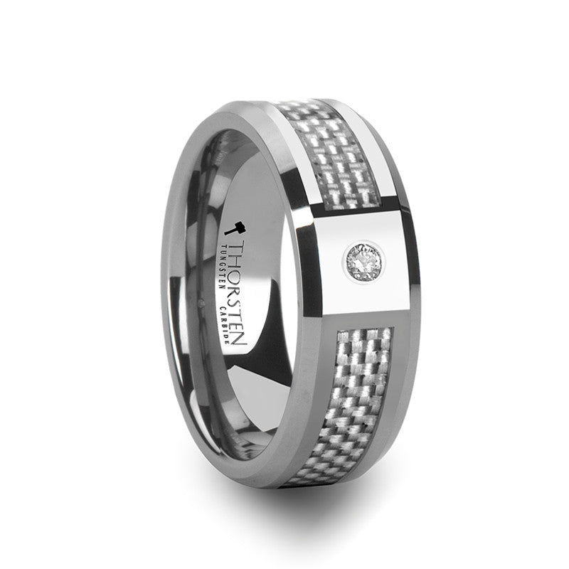 MONTPELIER | Tungsten Carbide Ring BEVELED COMFORT FIT with White Carbon Fiber & White Diamond | 8mm - TCRings.com
