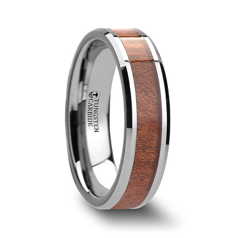 CHARLESTON | Tungsten Carbide Wedding Ring with Rosewood Inlay | 4mm, 6mm, 7mm, 8mm 10mm & 12mm - TCRings.com