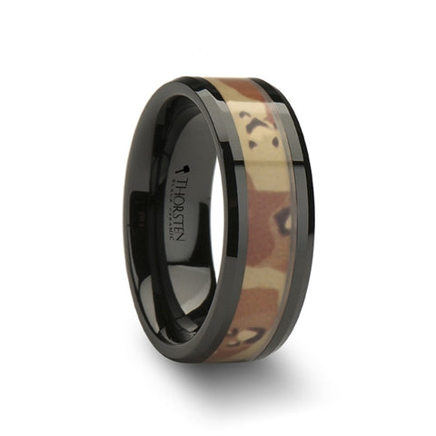 MIRAGE Beveled Black Ceramic Ring with Real Military Style Desert Camo   8mm