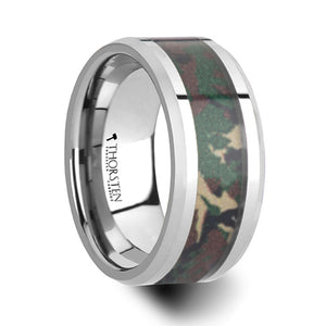 LAPUA | Tungsten Wedding Ring | Jungle Camouflage Inlay | 10mm - TCRings.com