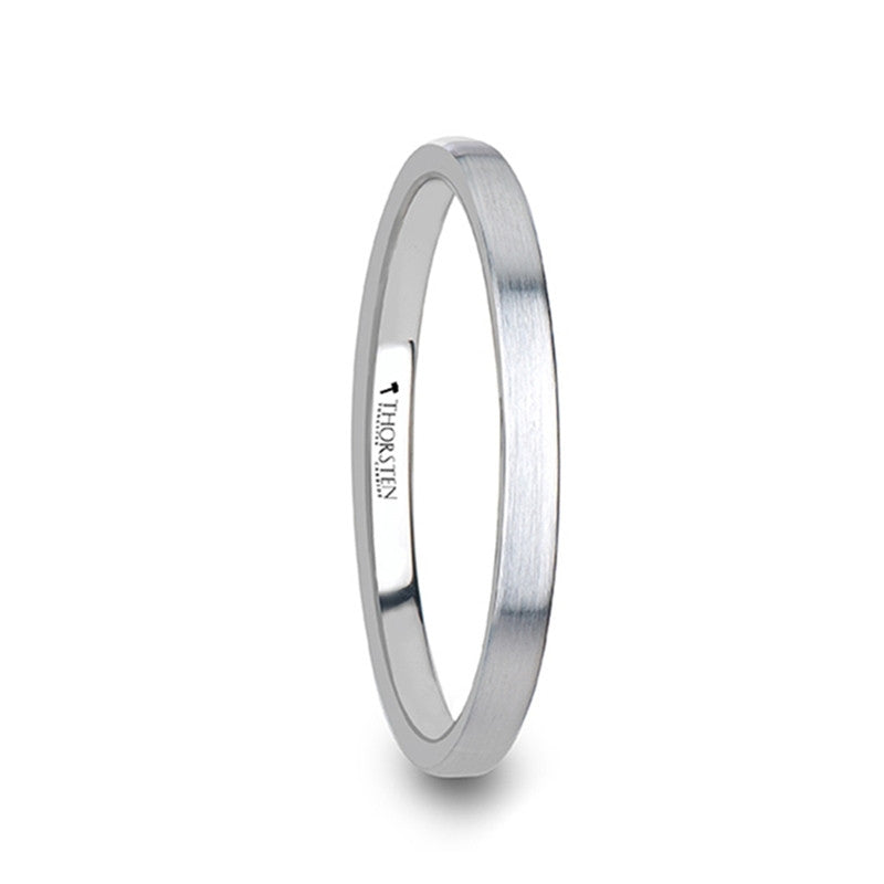 DIANTHA | Flat Style Womens White Tungsten Carbide Ring with Brushed Finish | 2mm - TCRings.com